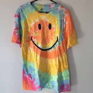 tie dye happy face t shirt size Large new